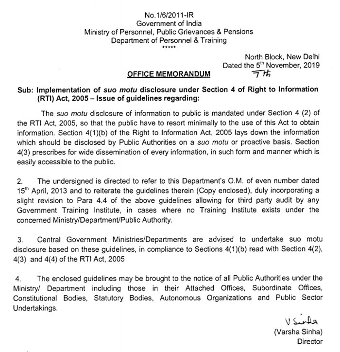 DoPT orders 2019 - Guidelines of suo motu disclosure under Section 4 of RTI Act, 2005