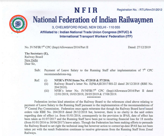 Payment of 7th CPC Leave Salary to the Running Staff  - Railway Employees NFIR