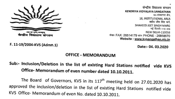 Inclusion Deletion in the list of existing Hard Stations notified vide KVS Office