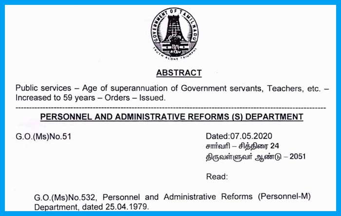 Age of superannuation of Government servants from 58 years to 59 years