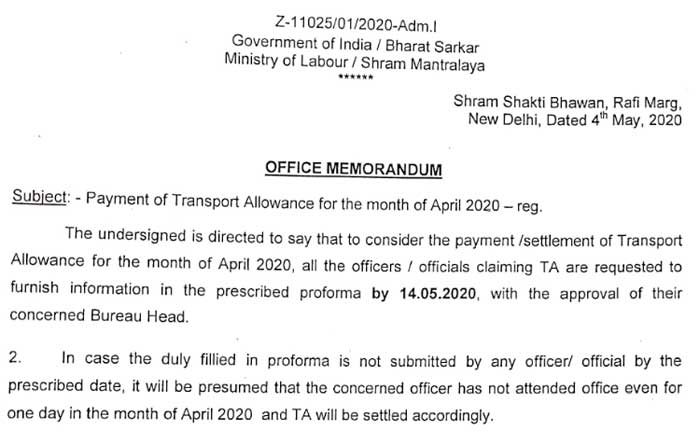Payment of Transport Allowance for the month of April 2020