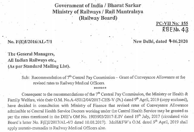 Recommendation of 7th Central Pay Commission - Grant of Conveyance Allowance at the revised rates to Railway Medical Officers