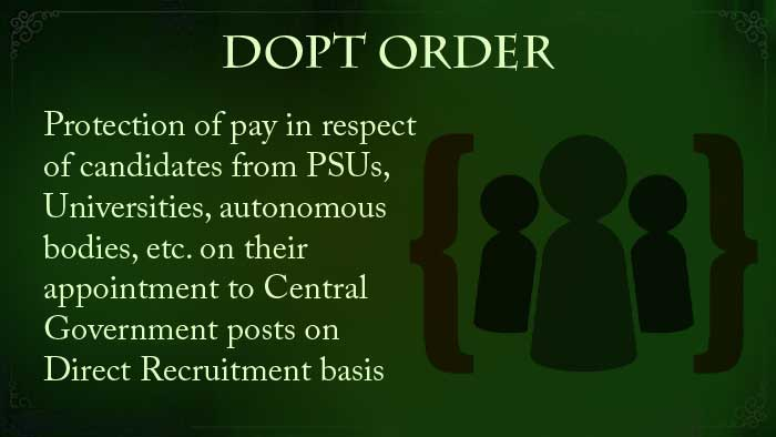 Protection of pay Central Government posts Direct Recruitment DoPT