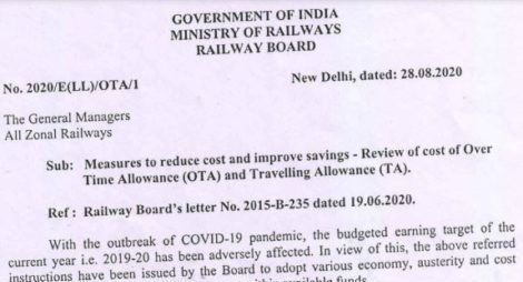 Payment of OTA and TA to railway employees by 50% Measures to reduce costs and improve savings